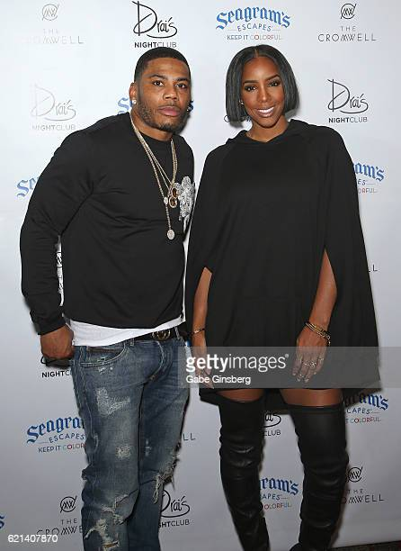 Rapper Nelly and singer Kelly Rowland arrive at Drai's Beach Club Nightclub at The Cromwell Las Vegas on November 6 2016 in Las Vegas Nevada