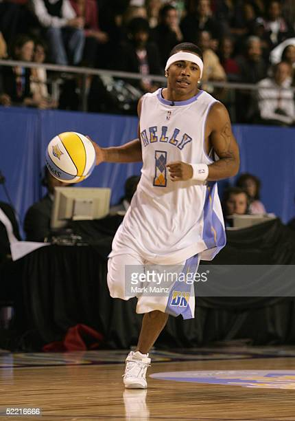 Rapper Nelly of Team Nuggets handles the ball during the McDonald's NBA All-Star Celebrity Game at the Colorado Convention Center on February 18,...