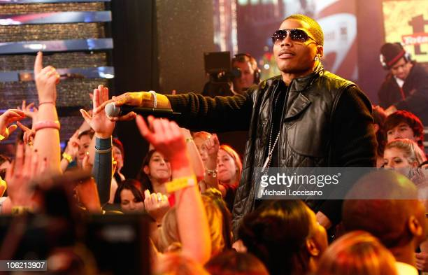 """Rapper Nelly performs during MTV's TRL """"Total Finale Live"""" at the MTV Studios in Times Square on November 16, 2008 in New York City."""