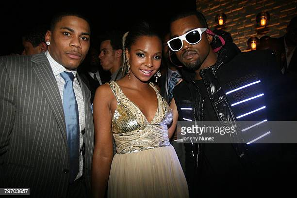 """Rapper Nelly, singer Ashanti and rapper Kanye West at Entertainment Weekly's toast to Antonio """"LA"""" Reid at STK-LA on February 10, 2008 in West..."""
