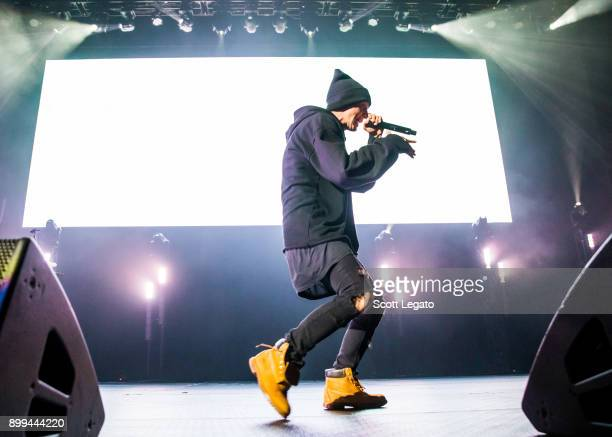 Rapper NF performs during the Big Show at Little Caesars Arena on December 28 2017 in Detroit Michigan