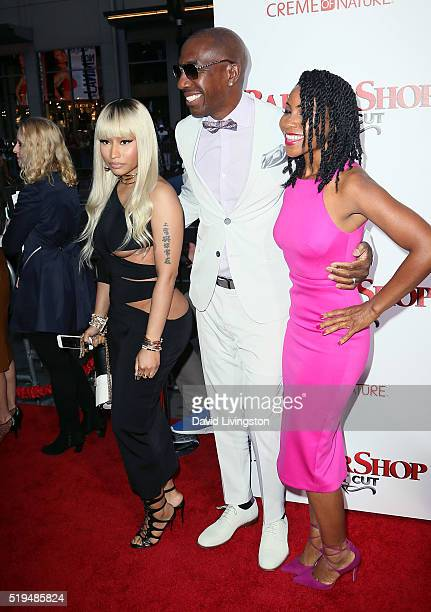 Rapper Nicki Minaj actor J B Smoove and his wife Shahidah Omar attend the premiere of New Line Cinema's Barbershop The Next Cut at the TCL Chinese...