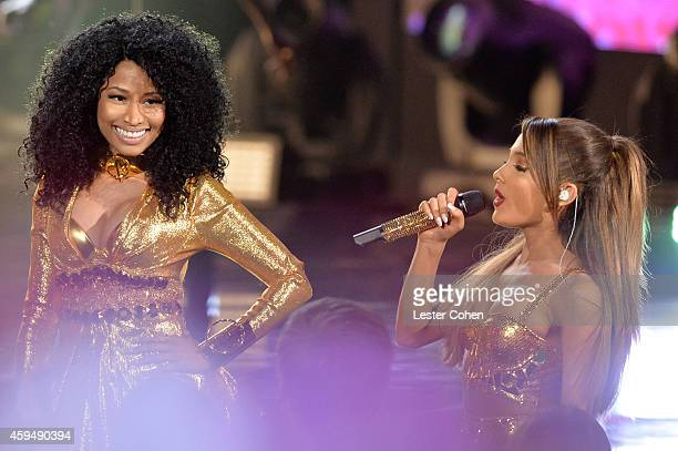 Rapper Nicki Minaj and Ariana Grande perform onstage at the 2014 American Music Awards at Nokia Theatre LA Live on November 23 2014 in Los Angeles...