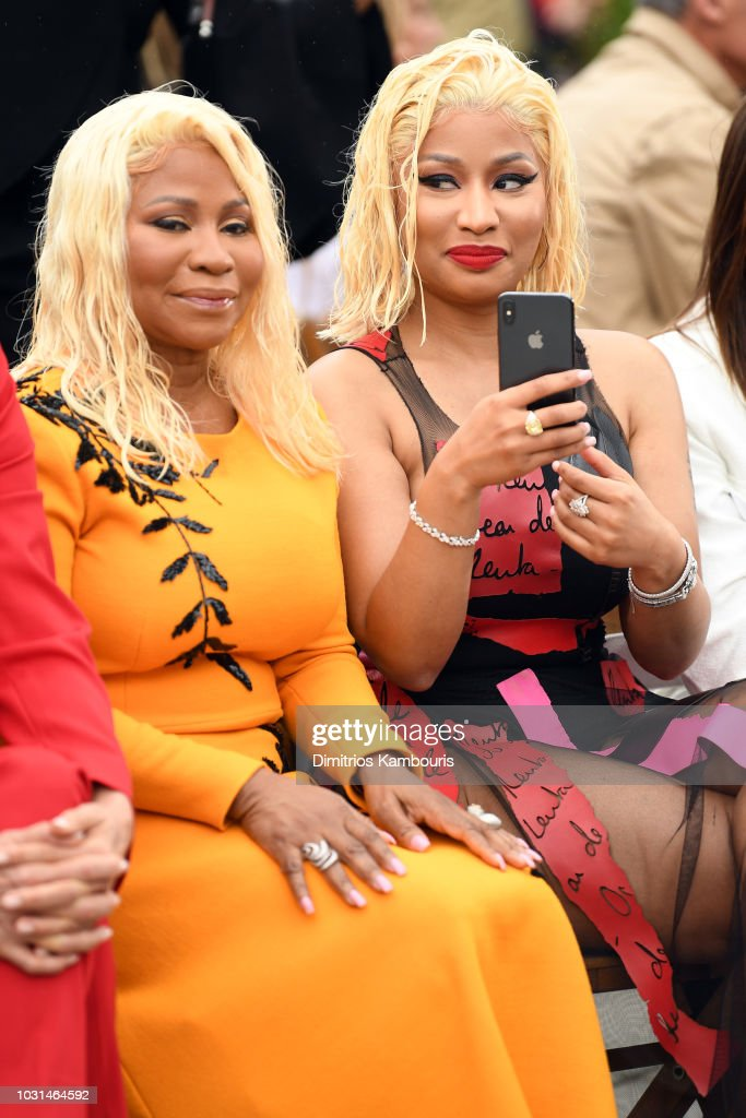 Rapper Nicki Minaj (R) and Carol Maraj attend the Oscar De La Renta front Row during New York Fashion Week: The Shows at Spring Studios Terrace on September 11, 2018 in New York City.