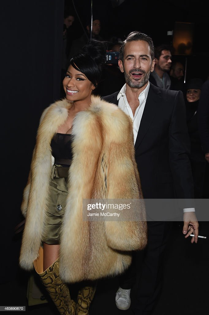 Rapper Nicki Minaj (L) and designer Marc Jacobs pose backstage at the Marc Jacobs fashion show during Mercedes-Benz Fashion Week Fall 2015 at Park Avenue Armory on February 19, 2015 in New York City.