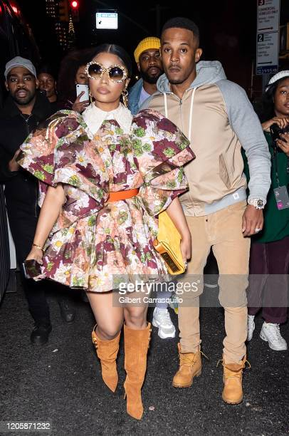 Rapper Nicki Minaj and Kenneth Petty are seen leaving the Marc Jacobs Fall 2020 runway show during New York Fashion Week on February 12 2020 in New...