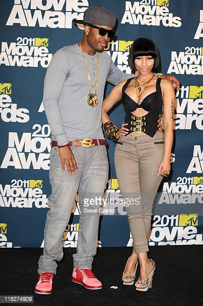 Rapper Nicki Minaj and Scaff Beezy pose in the press room during the 2011 MTV Movie Awards at Universal Studios' Gibson Amphitheatre on June 5 2011...