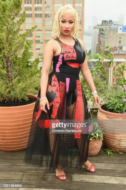 Rapper Nicki Minaj attends the Oscar De La Renta front Row during New York Fashion Week The Shows at Spring Studios Terrace on September 11 2018 in...