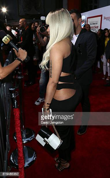 Rapper Nicki Minaj attends the premiere of New Line Cinema's 'Barbershop The Next Cut' at the TCL Chinese Theatre on April 6 2016 in Hollywood...