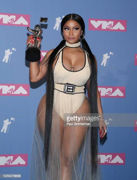 Rapper Nicki Minaj holds her award for best hiphop video in the press room at the 2018 MTV Video Music Awards at Radio City Music Hall on August 20...