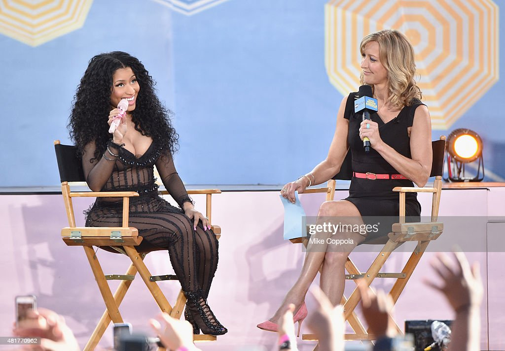 Rapper Nicki Minaj (L) is interviewed by Journalist Lara Spencer on ABC's 'Good Morning America' at Rumsey Playfield, Central Park on July 24, 2015 in New York City.