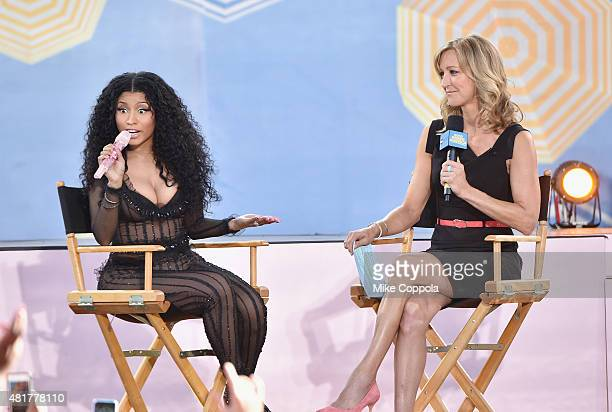 Rapper Nicki Minaj is interviewed by Journalist Lara Spencer on ABC's Good Morning America at Rumsey Playfield Central Park on July 24 2015 in New...