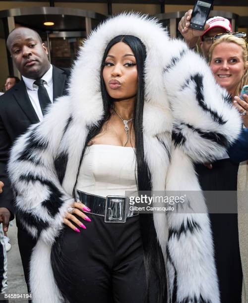 Rapper Nicki Minaj is seen leaving Oscar De La Renta fashion show at Sotheby's during New York Fashion Week on September 11 2017 in New York City