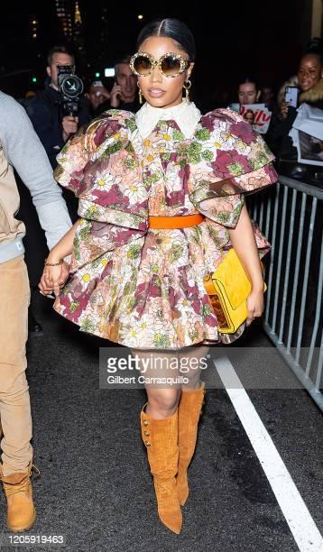 Rapper Nicki Minaj is seen leaving the Marc Jacobs Fall 2020 runway show during New York Fashion Week on February 12 2020 in New York City