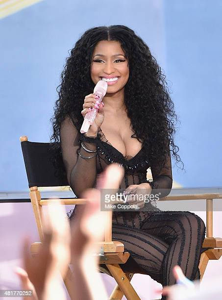 """Rapper Nicki Minaj performs on ABC's """"Good Morning America"""" at Rumsey Playfield, Central Park on July 24, 2015 in New York City."""