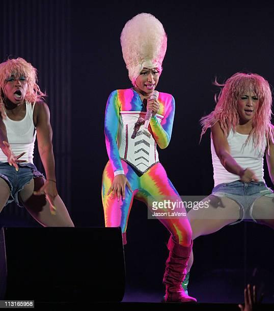 Rapper Nicki Minaj performs on the I'm Still Music Tour at Honda Center on April 23 2011 in Anaheim California