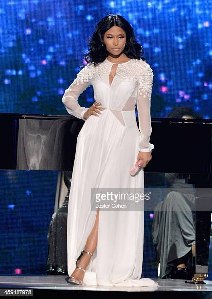 Rapper Nicki Minaj performs onstage at the 2014 American Music Awards at Nokia Theatre LA Live on November 23 2014 in Los Angeles California