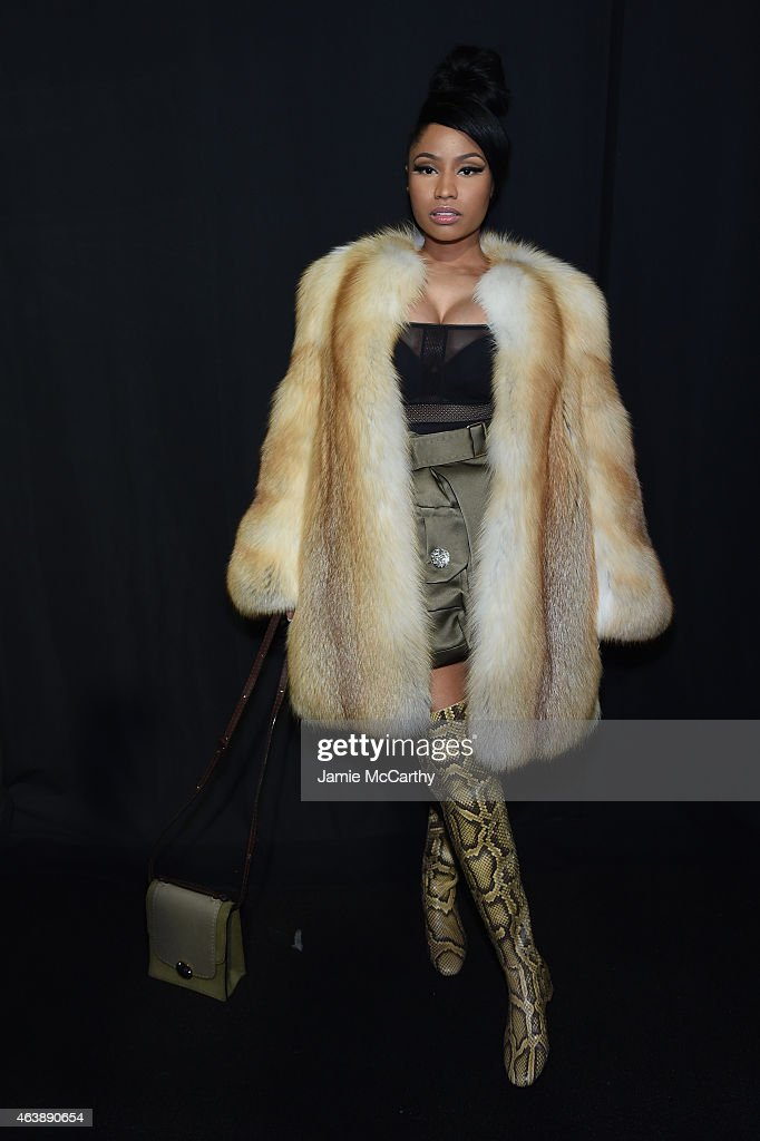 Rapper Nicki Minaj poses backstage at the Marc Jacobs fashion show during Mercedes-Benz Fashion Week Fall 2015 at Park Avenue Armory on February 19, 2015 in New York City.