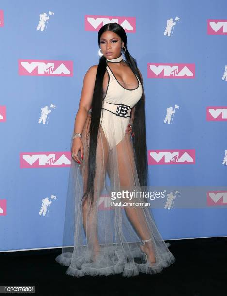 Rapper Nicki Minaj poses in the press room at the 2018 MTV Video Music Awards at Radio City Music Hall on August 20 2018 in New York City at Radio...