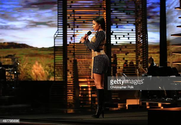 Rapper Nicki Minaj speaks onstage at AE Networks Shining A Light concert at The Shrine Auditorium on November 18 2015 in Los Angeles California