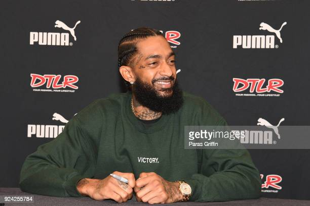Rapper Nipsey Hussle attends his Victory Lap CD Signing at DTLR on February 25 2018 in Decatur Georgia