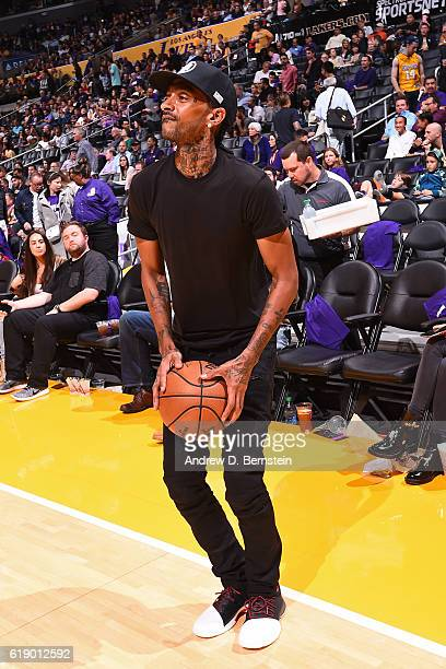Rapper Nipsey Hussle attends the Houston Rockets game against the Los Angeles Lakers on October 26 2016 at STAPLES Center in Los Angeles California...