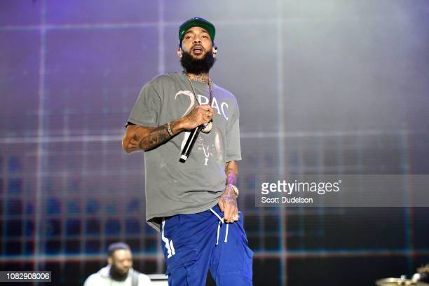 Rapper Nipsey Hussle performs onstage during day one of the Rolling Loud Festival at Banc of California Stadium on December 14 2018 in Los Angeles...
