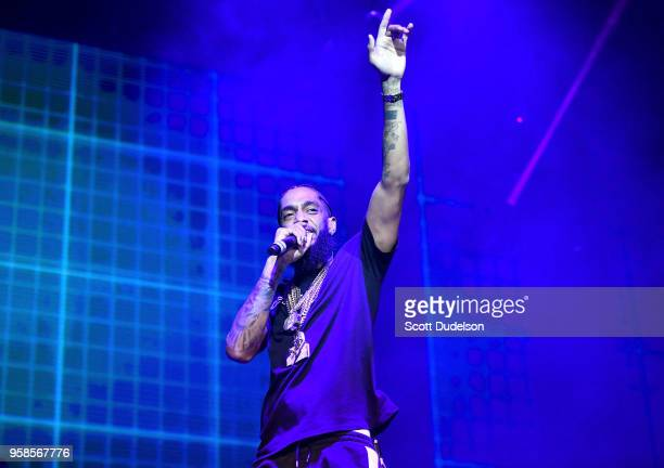 Rapper Nipsey Hussle performs onstage during the Power 106 Powerhouse festival at Glen Helen Amphitheatre on May 12 2018 in San Bernardino California