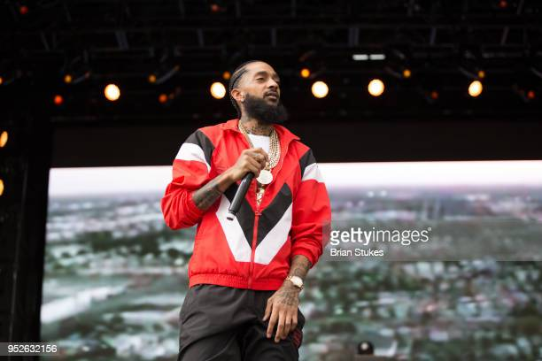 Rapper Nipsey Hussle performs onstage for 2018 Broccoli City Festival at RFK Stadium on April 28 2018 in Washington DC