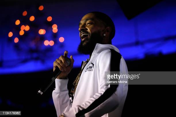 Rapper Nipsey Hussle performs raps from his new album Victory Lap along with other songs at the Palladium in Hollywood on February 15 2018 in Los...