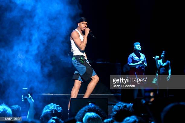 Rapper NLE Choppa performs onstage at The Wiltern on June 10 2019 in Los Angeles California