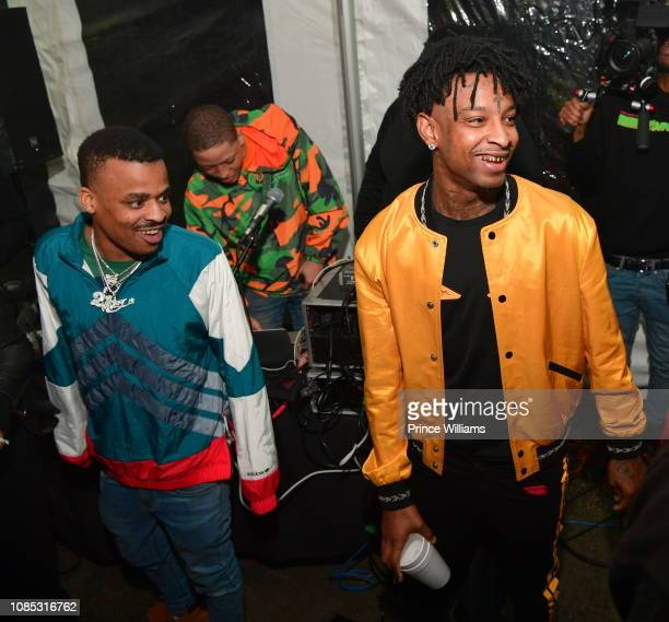 Rapper No Plug and 21 Savage attend Motel 21 ' I Am > I Was' Private Listening Experience on December 21 2018 in Atlanta Georgia