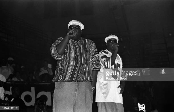 Rapper Notorious BIG and Sean 'Puffy' Combs performs at the International Amphitheatre in Chicago Illinois in April 1995