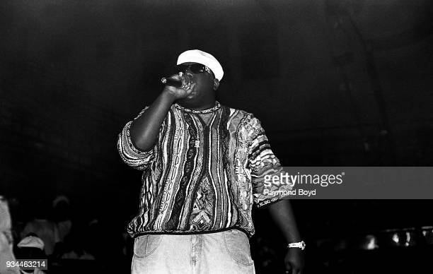 Rapper Notorious BIG performs at the International Amphitheatre in Chicago Illinois in April 1995