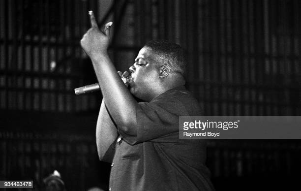 Rapper Notorious BIG performs at the Riviera Theatre in Chicago Illinois in September 1994
