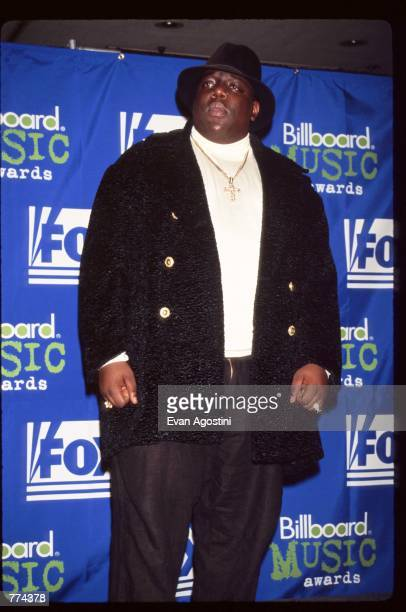 Rapper Notorious BIG stands at the 1995 Billboard Music Awards December 6 1995 in New York City The awards honor the year's number one musical...