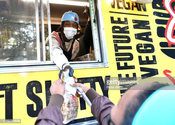 Rapper Offset delivers hot meals during an Election Day Pop-Up event on November 03, 2020 in Atlanta, Georgia.