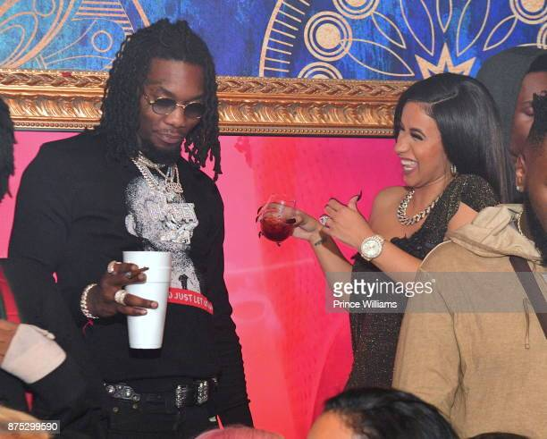 Rapper Offset Of the Group Migos and Cardi B attend DJ Holiday Birthday Celebration at Amora Lounge on November 16 2017 in Atlanta Georgia
