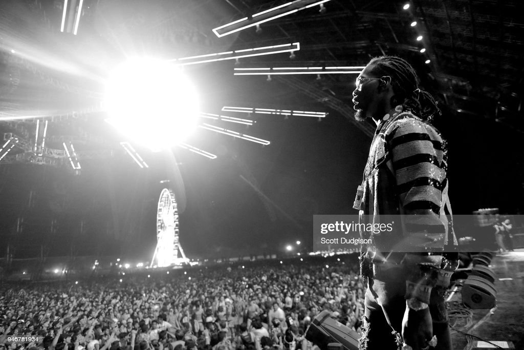 Rapper Offset of the hip hip group Migos performs on the Sahara stage during week 1, day 3 of the Coachella Valley Music and Arts Festival on April 15, 2018 in Indio, California.