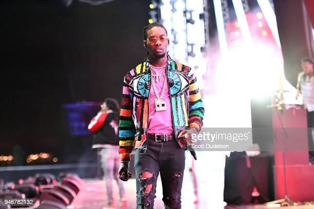 Rapper Offset of the hip hip group Migos performs on the Sahara stage during week 1 day 3 of the Coachella Valley Music and Arts Festival on April 15...