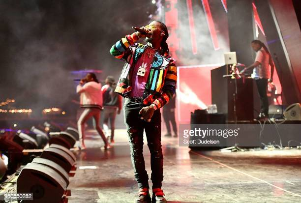 Rapper Offset of the hip hop group Migos performs onstage during week 1 day 3 of the Coachella Valley Music And Arts Festival on April 15 2018 in...