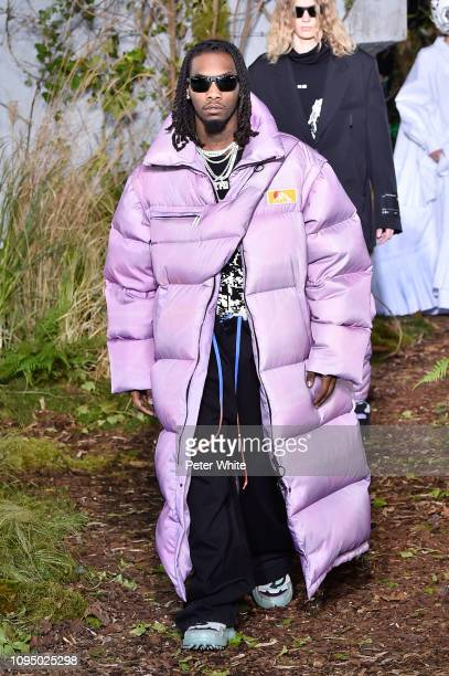 Rapper Offset walks the runway during OffWhite Menswear Fall/Winter 20192020 show as part of Paris Fashion Week on January 16 2019 in Paris France