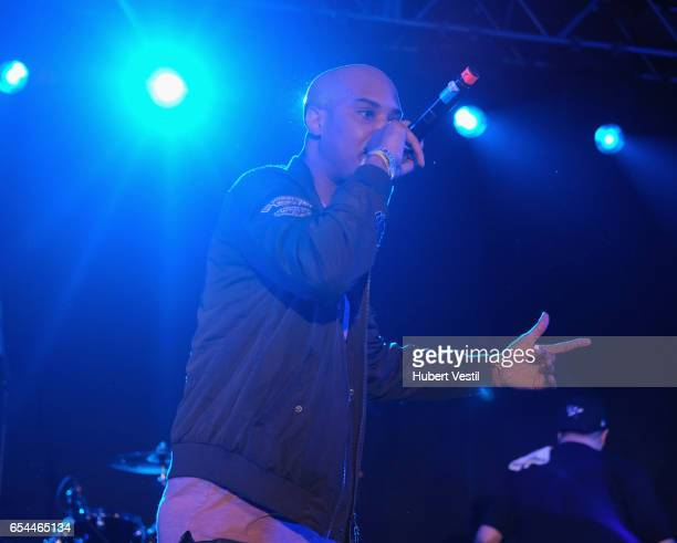 Rapper Omen performs onstage at the Mass Appeal music showcase during 2017 SXSW Conference and Festivals at Stubbs on March 16 2017 in Austin Texas