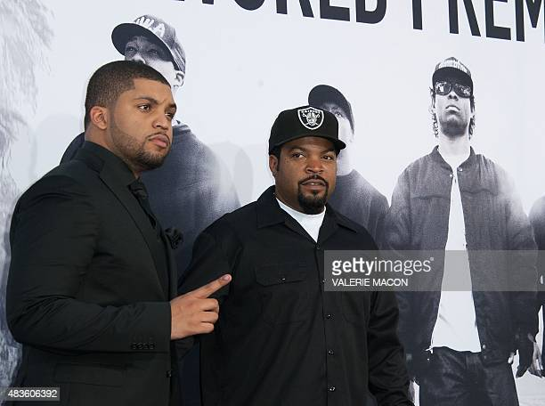 """Rapper O'Shea Jackson, Jr. And his father Ice Cube arrive for the Universal Pictures And Legendary Pictures premiere of """"Straight Outta Compton"""" on..."""