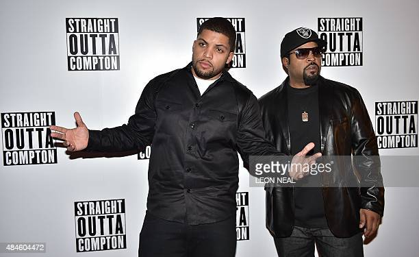 Rapper O'Shea Jackson Jr. And his father O'Shea Jackson, better known as US rapper Ice Cube, pose for a photograph on the red carpet as they arrive...
