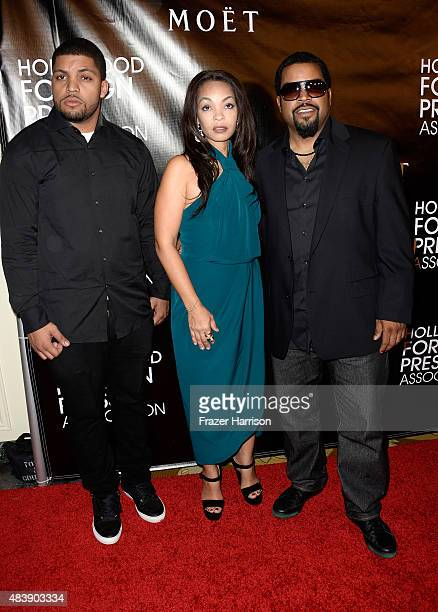 Rapper O'Shea Jackson Jr Kimberly Woodruff and rapper Ice Cube attend HFPA Annual Grants Banquet at the Beverly Wilshire Four Seasons Hotel on August...