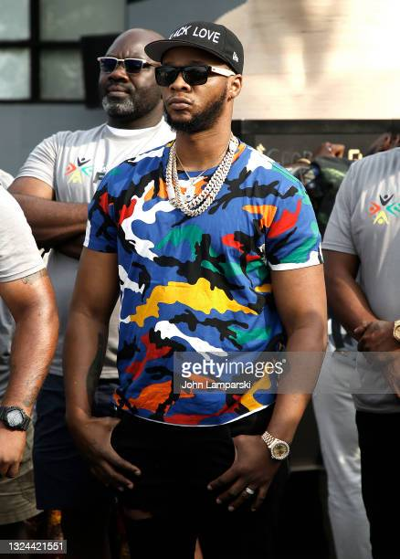 Rapper Papoose attends the unveiling of George Floyd statue as New York City Honors Juneteenth Holiday on June 19, 2021 in the Flatbush neighborhood...