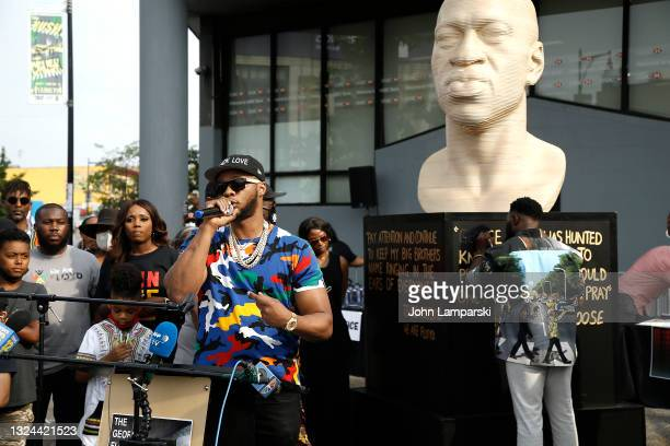 Rapper Papoose speaks during the unveiling of George Floyd statue as New York City Honors Juneteenth Holiday on June 19, 2021 in the Flatbush...