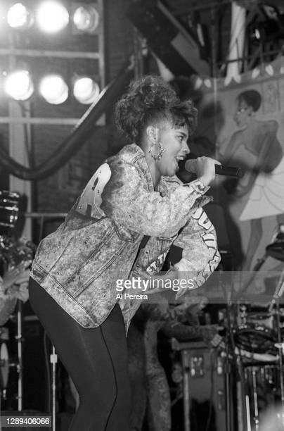 """Rapper Pepa and Salt-N-Pepa performs at the """"Sisters In The Name Of Rap"""" concert and television special at The Ritz on October 8, 1991 in New York..."""