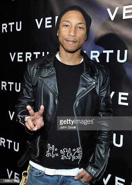 Rapper Pharrell Williams arrives at Vertu and Gelila and Wolfgang Puck Celebrate the Oscars and Dream for Africa Foundation at CUT on February 23,...